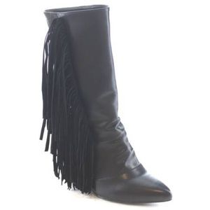 Shoes - NIB Black vegan snakeskin & leather fringe booties